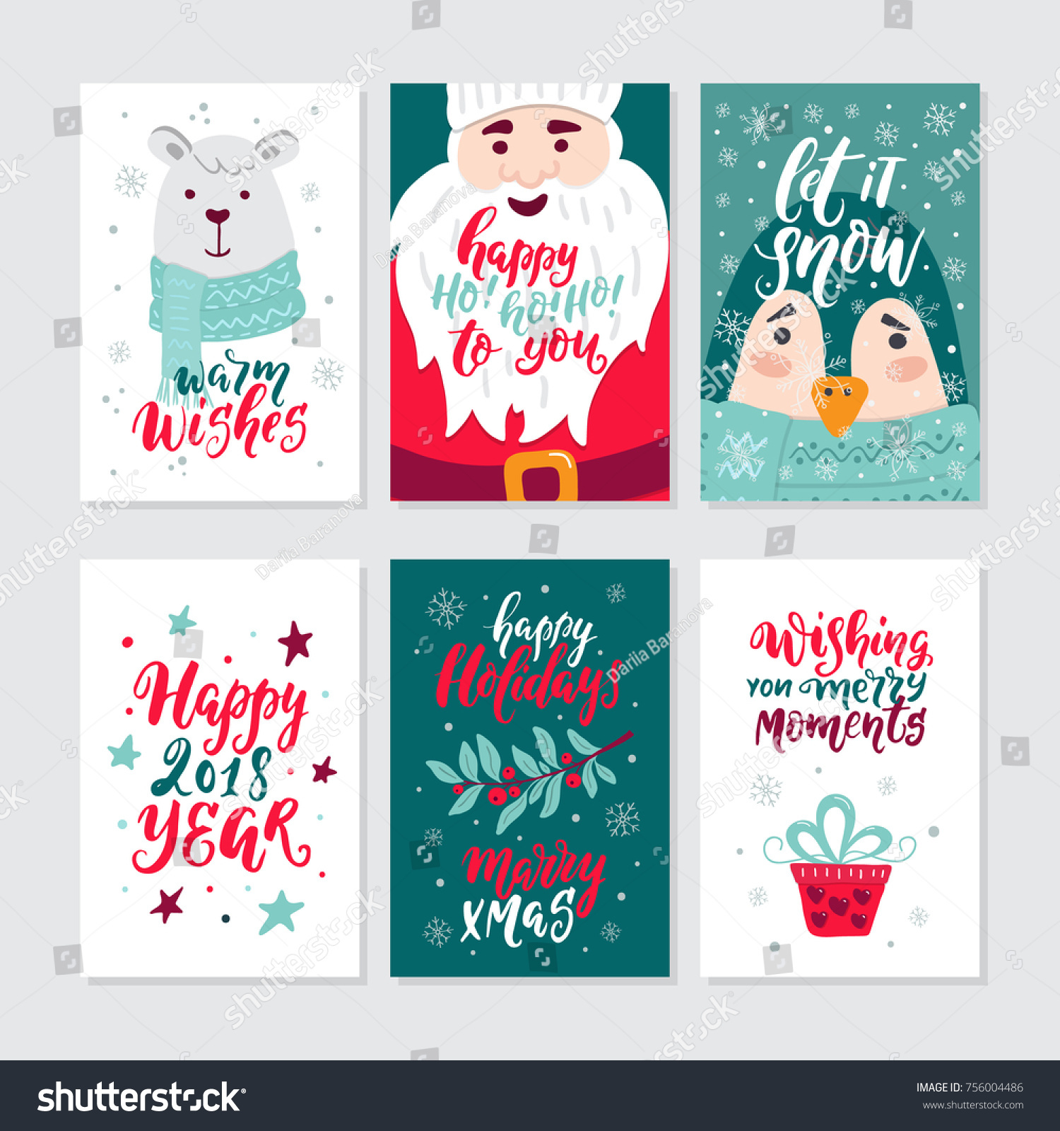 Vector Merry Christmas Greeting Cards Invitations Stock Vector