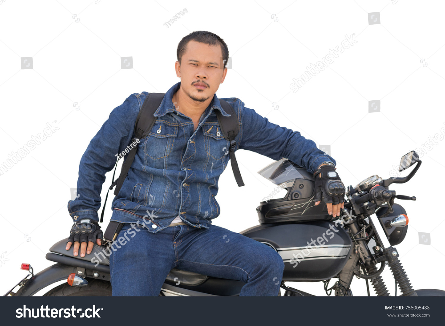Asian guy riding a motorcycle on a black classic model on a white background