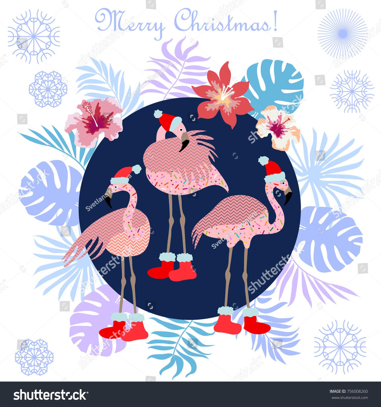 Tropical Christmas Flamingo Palm Leaves Snowflakes Stock Vector ...