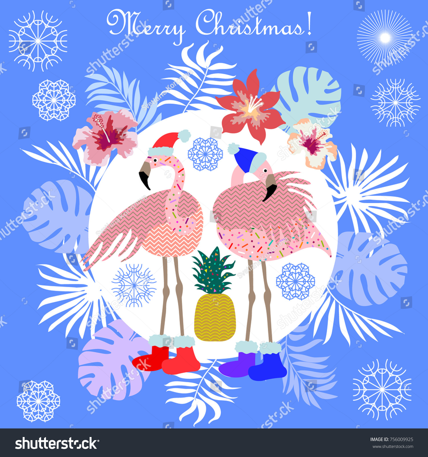 Funny Christmas Tropical Holiday Flamingo Palm Stock Vector (Royalty ...