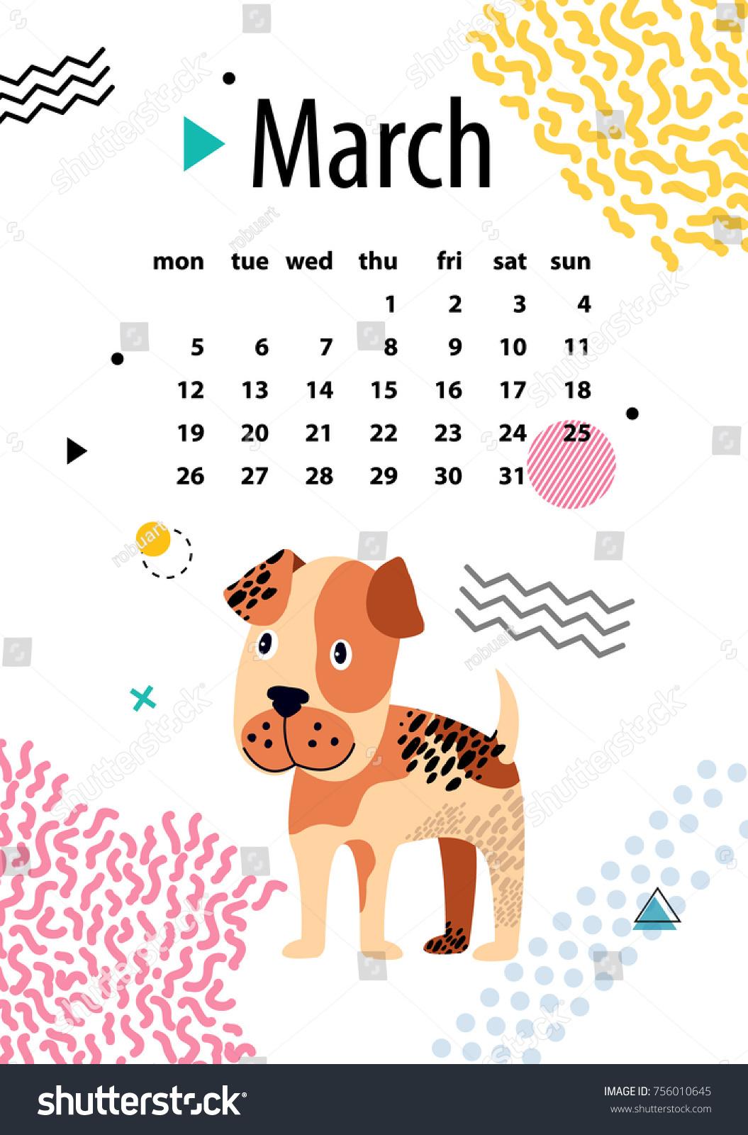 Precede Sun Nei Calendario Inglesi.Immagine Vettoriale A Tema March Calendar 2018 Year Boxer