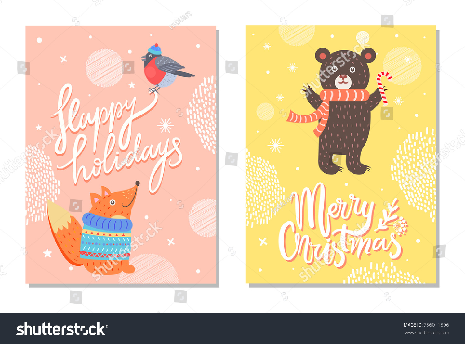 Happy Holidays Merry Christmas Greeting Cards Stock Vector Hd