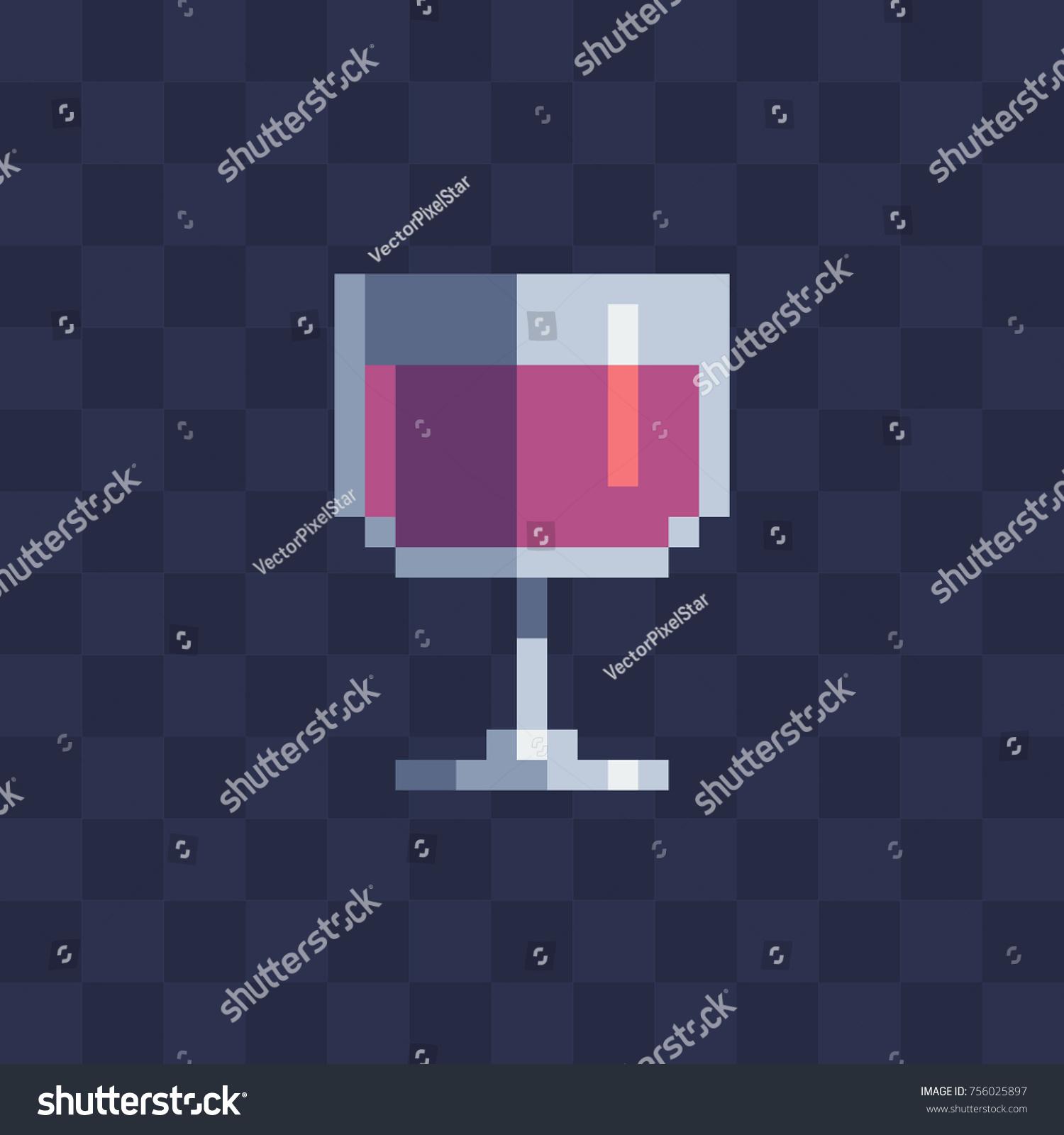 Glass Wine Icon Pixel Art Stile Stock Vector Royalty Free