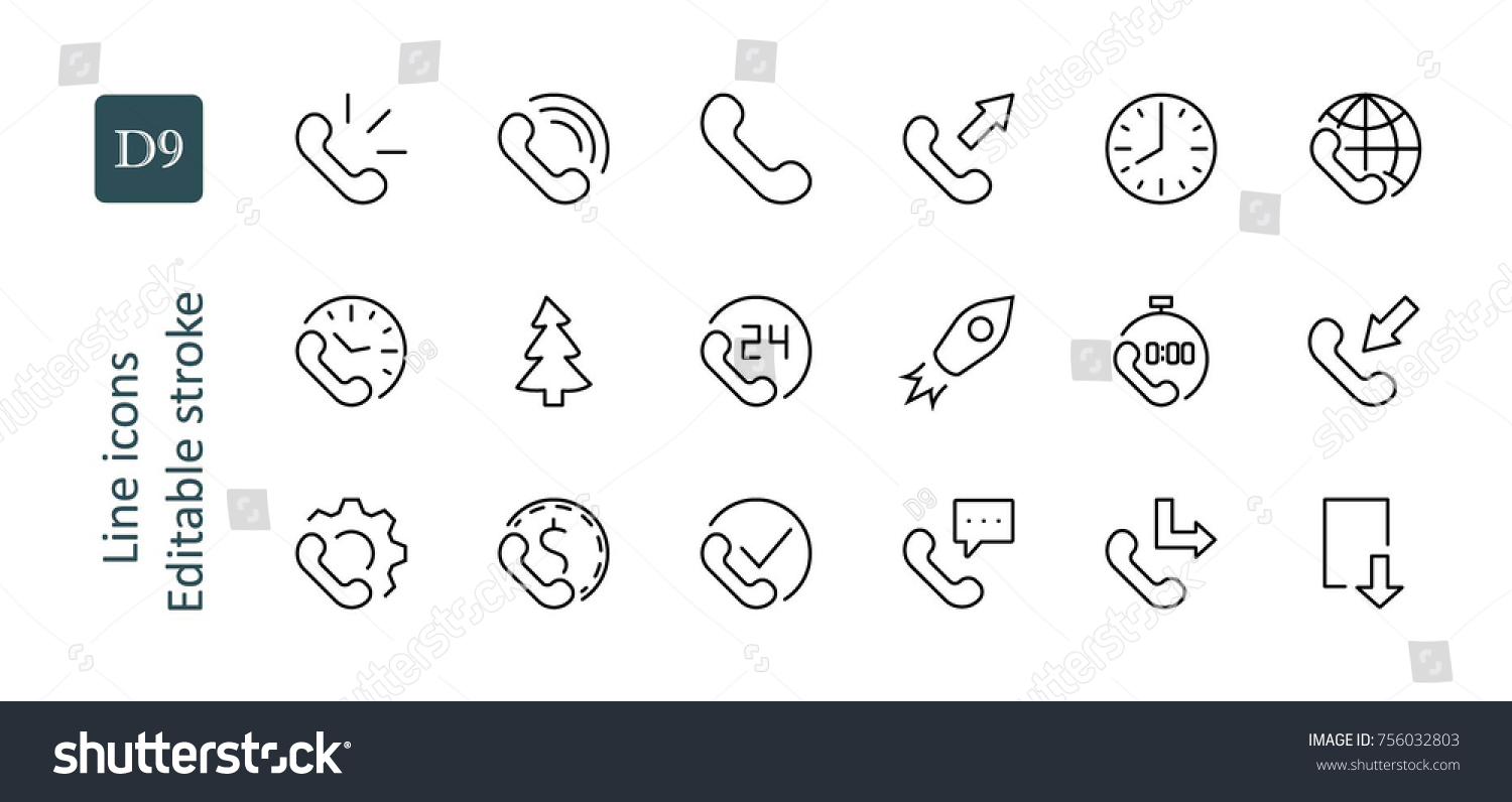 Set Phone Vector Line Icons Contains Stock Vector 756032803