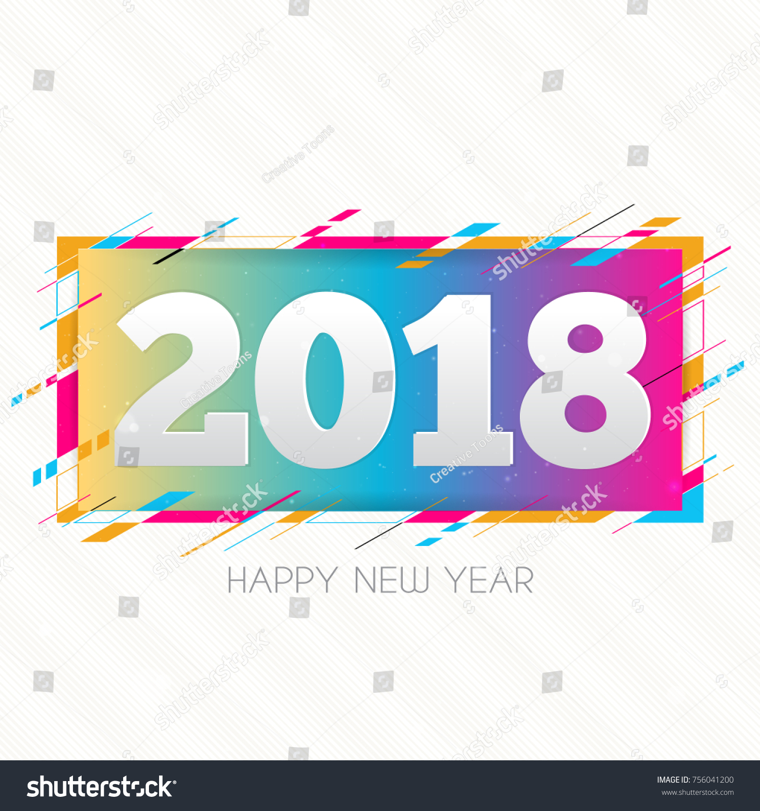 creative happy new year 2018 design card on modern background