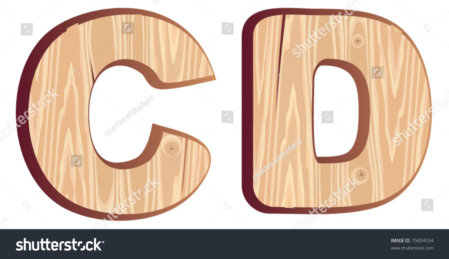 c d wood font isolated wooden letter type