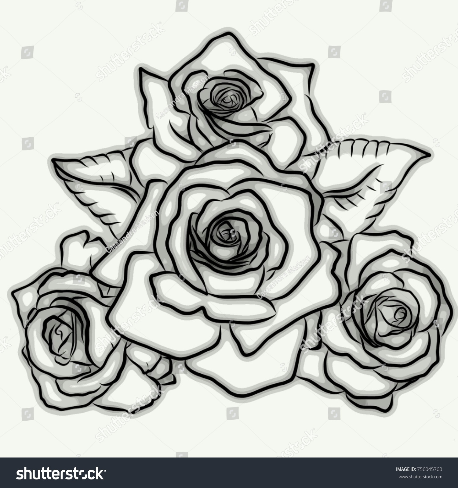 Black Grey Digitally Illustrated Tattoo Design Stock Illustration
