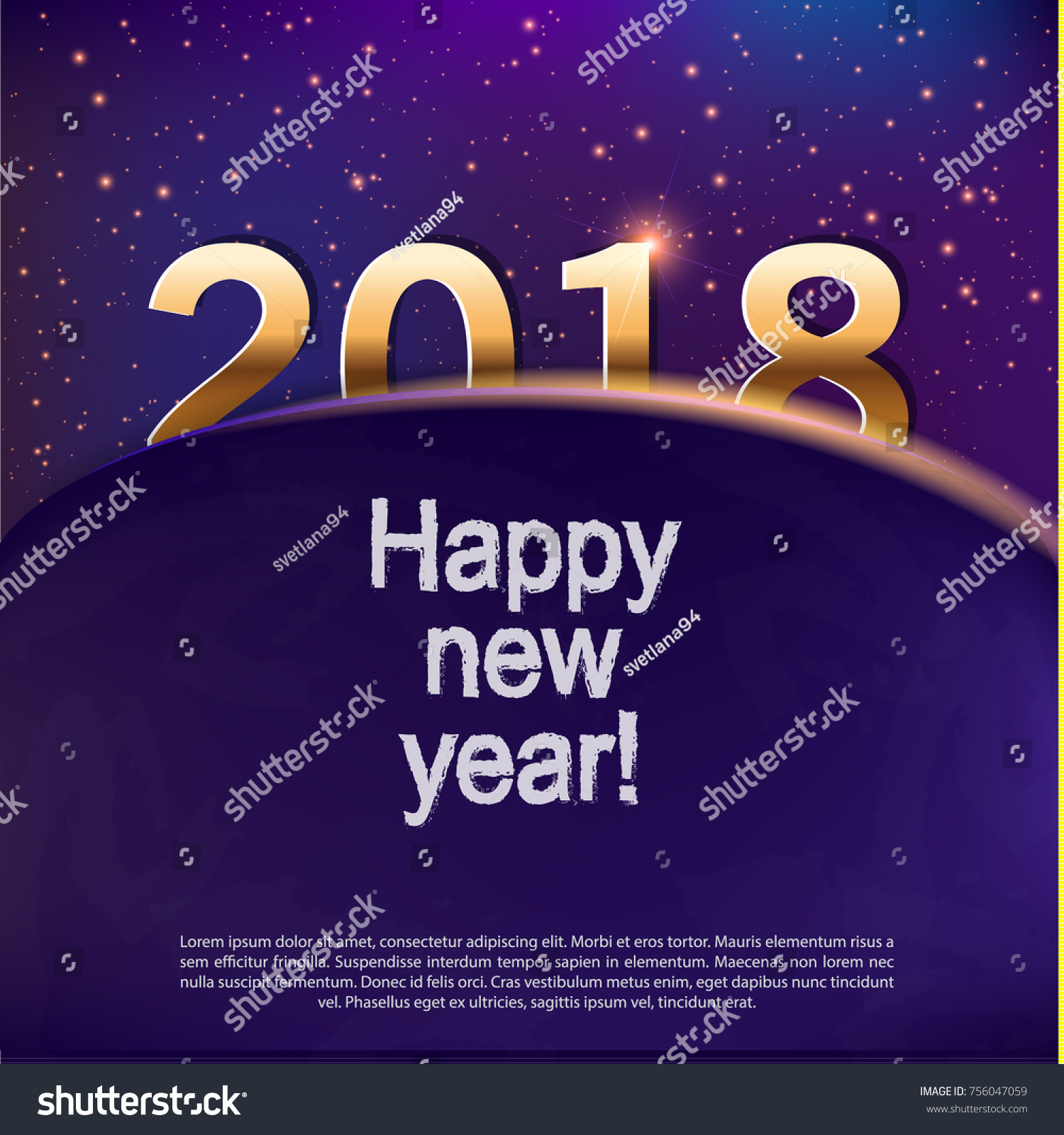happy new year 2018template for cards and greetingschristmas celebration gold