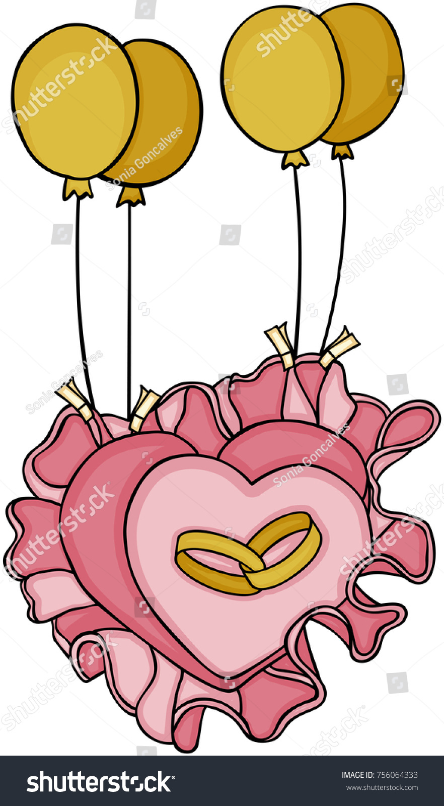 Wedding Rings On Heart Shaped Pillow Stock Vector 756064333 ...