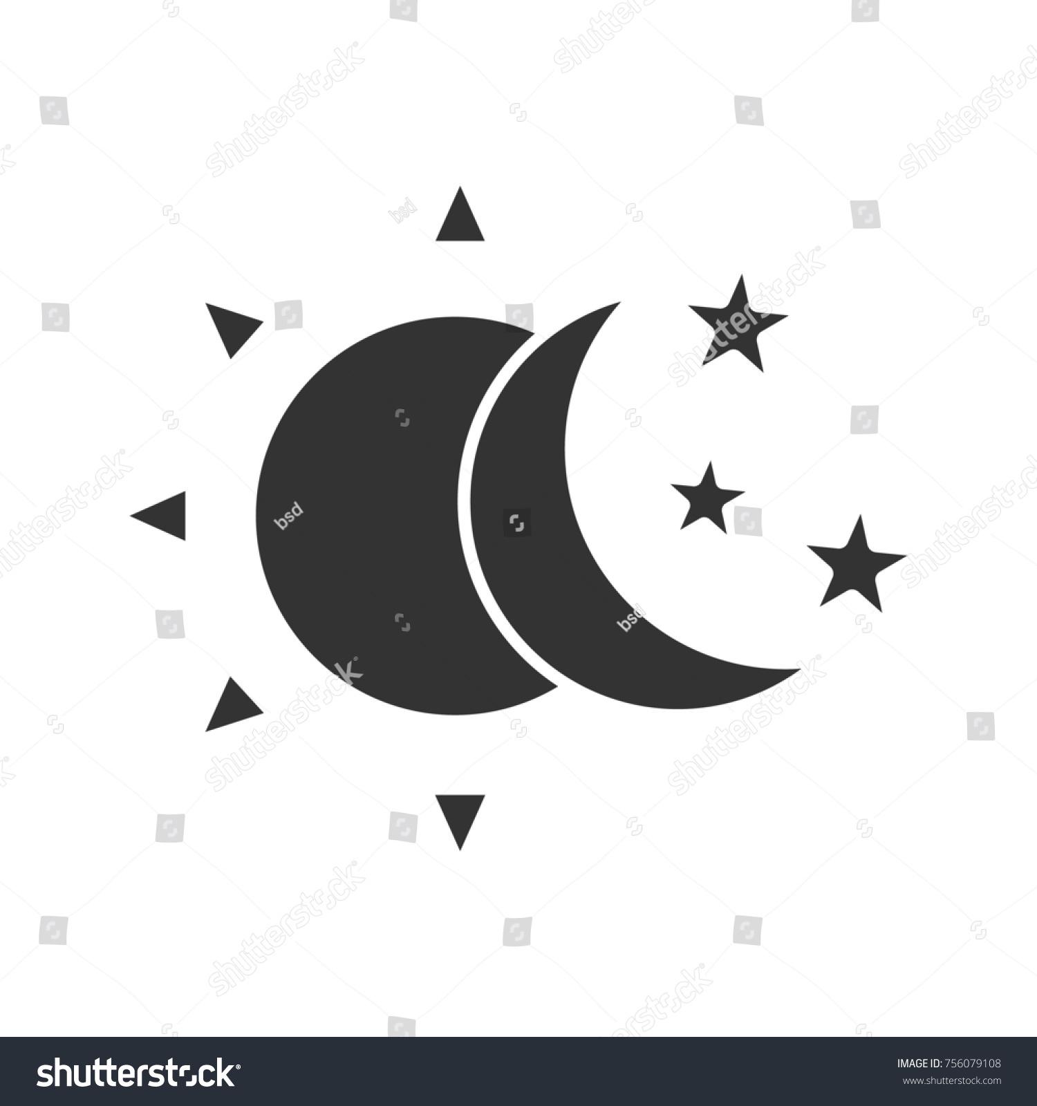 Sun Moon Stars Glyph Icon Silhouette Stock Illustration 756079108