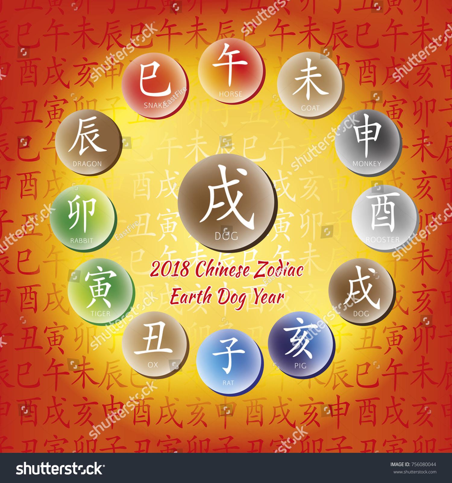 Chinese Horoscope Yellow Dog Chinese Happy Stock Vector 756080044
