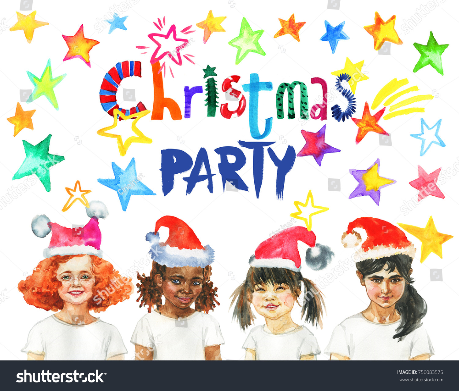Watercolor Christmas Party Banner Hand Drawn Stock Illustration ...