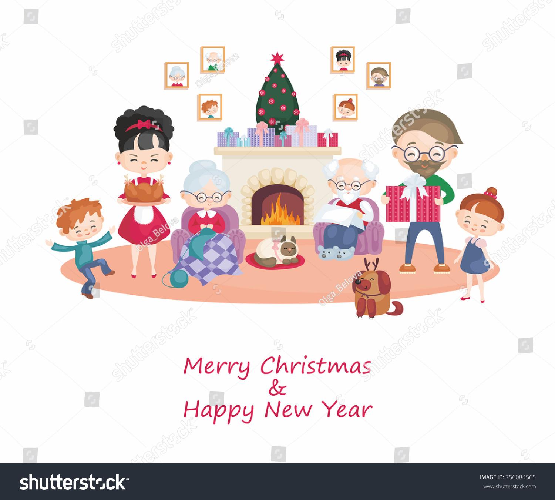 Greeting Card Image Happy Family Celebrating Stock Vector 756084565