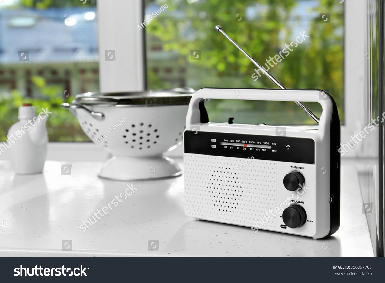 Modern Radio On Table Kitchen Stock Photo (100% Legal Protection ...