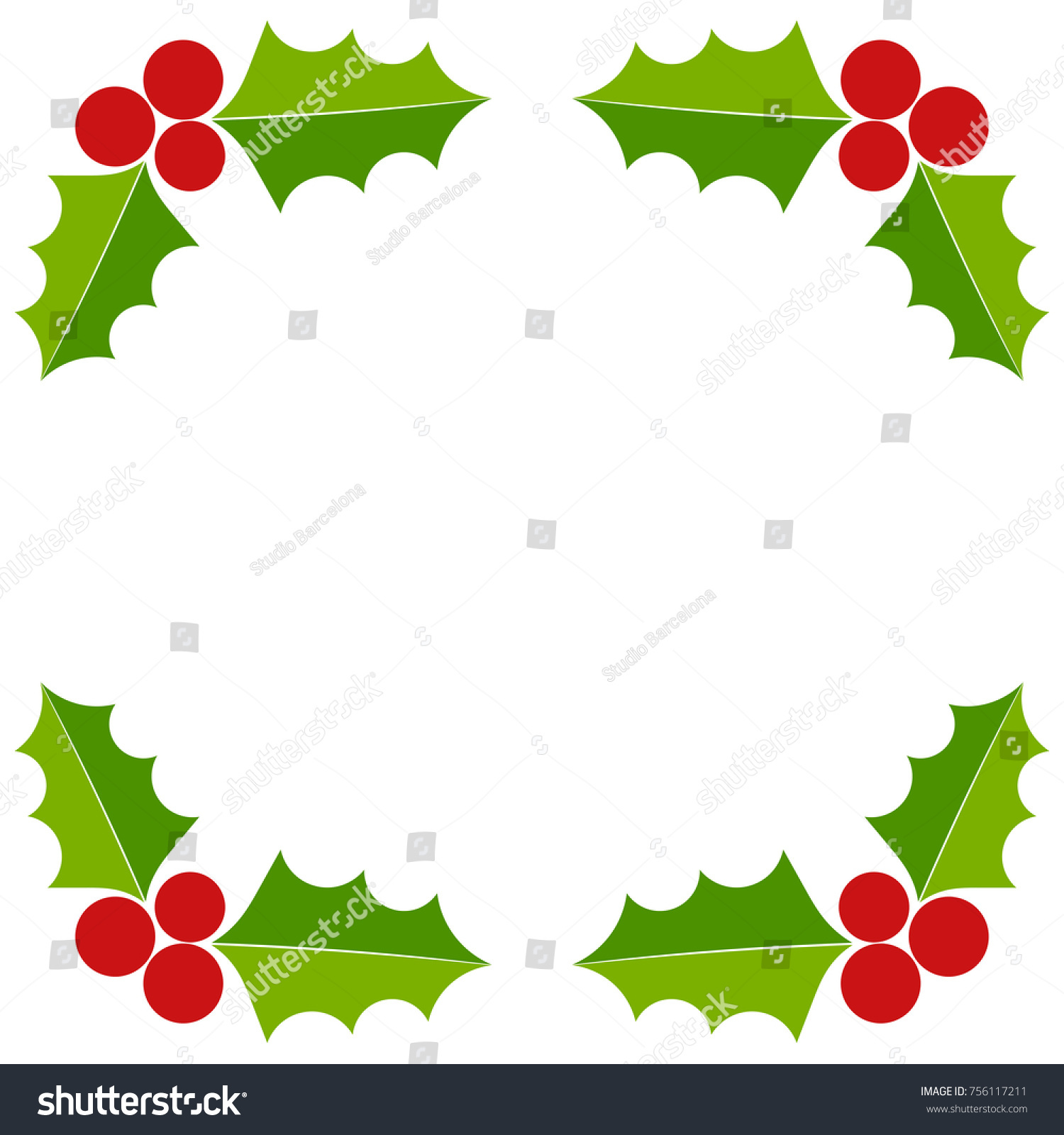 Holly berry christmas border greeting card stock vector 756117211 holly berry christmas border greeting card illustration kristyandbryce Choice Image