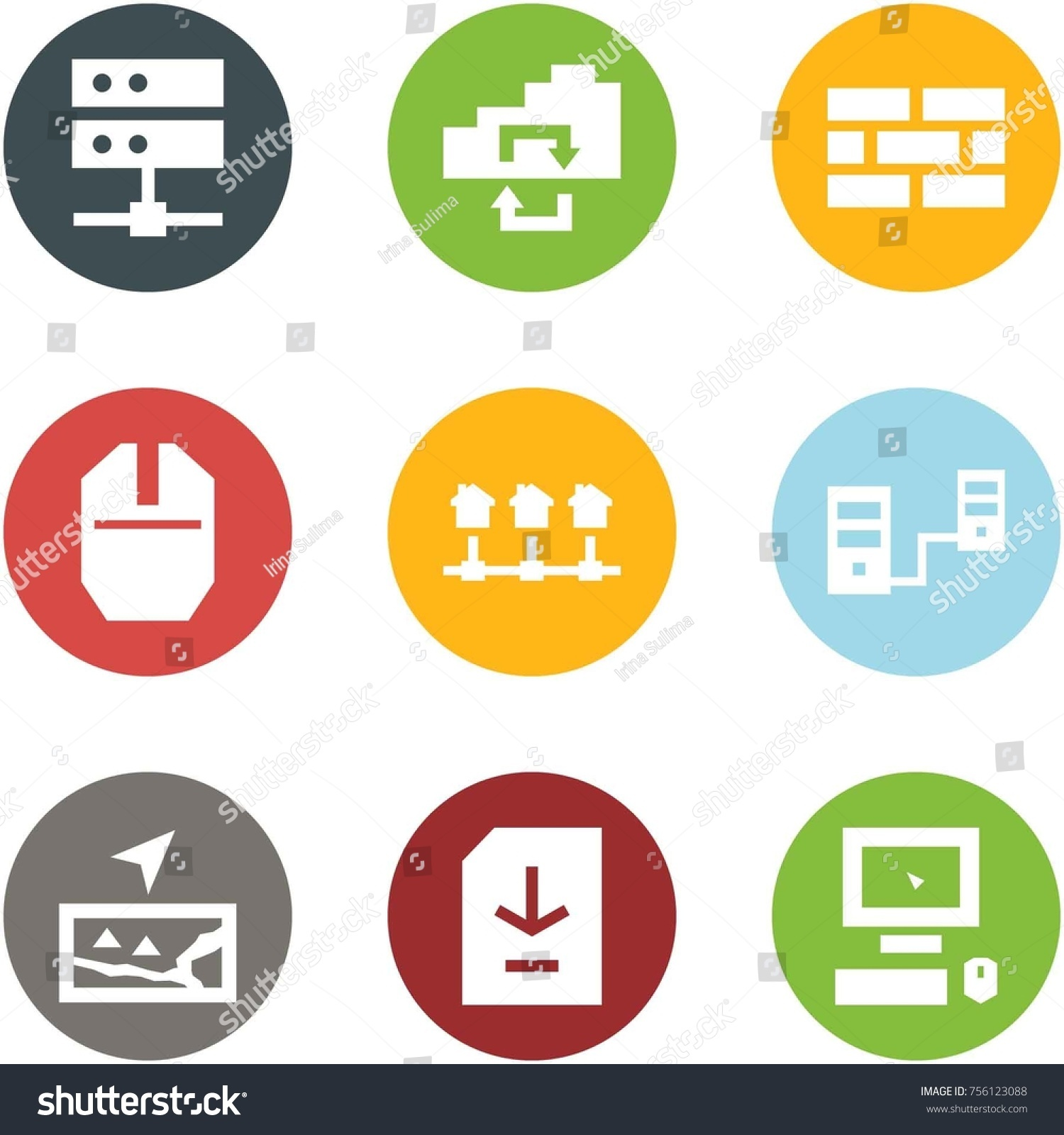 Origami Corner Style Icon Set Server Stock Vector (Royalty Free