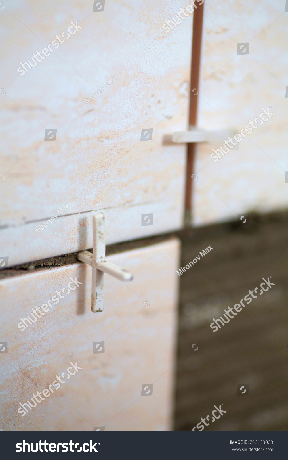 Laying Tiles Industrial Construction Worker Installing Stock Photo ...