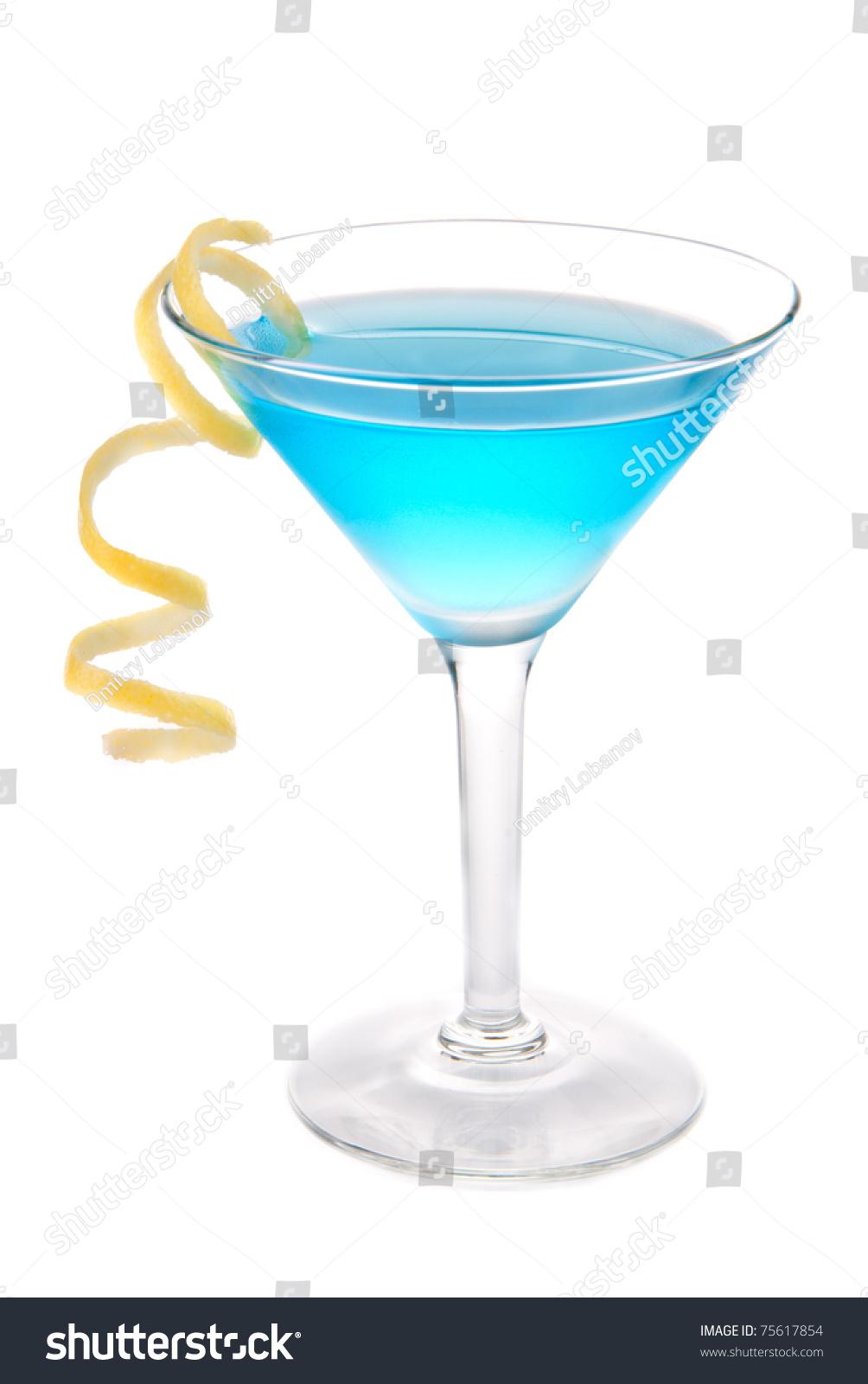 Blue cosmopolitan cocktail vodka blue curacao stock photo for Orange and blue cocktails
