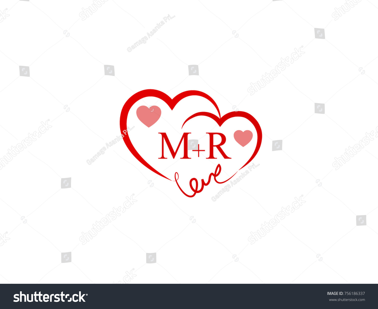 MR Initial Wedding Invitation Love Logo Template Vector