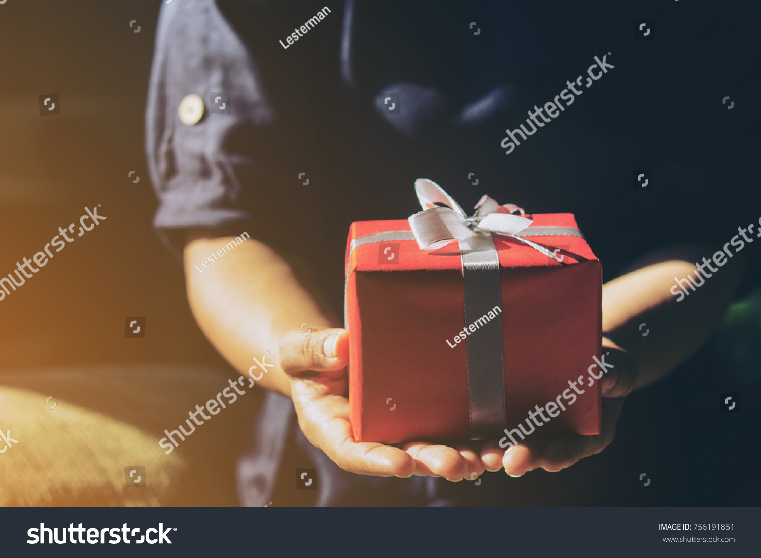 Hands Holding Red Gift Box Present Stock Photo Edit Now