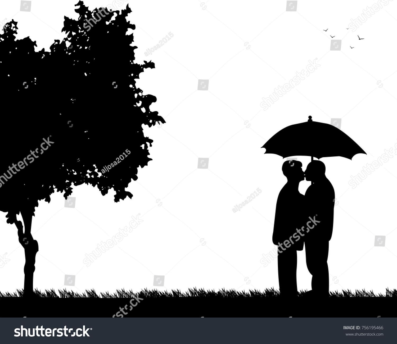 Lovely Retired Elderly Couple Standing Kissing Stock Vector ... for Couple Silhouette Umbrella Kissing  186ref