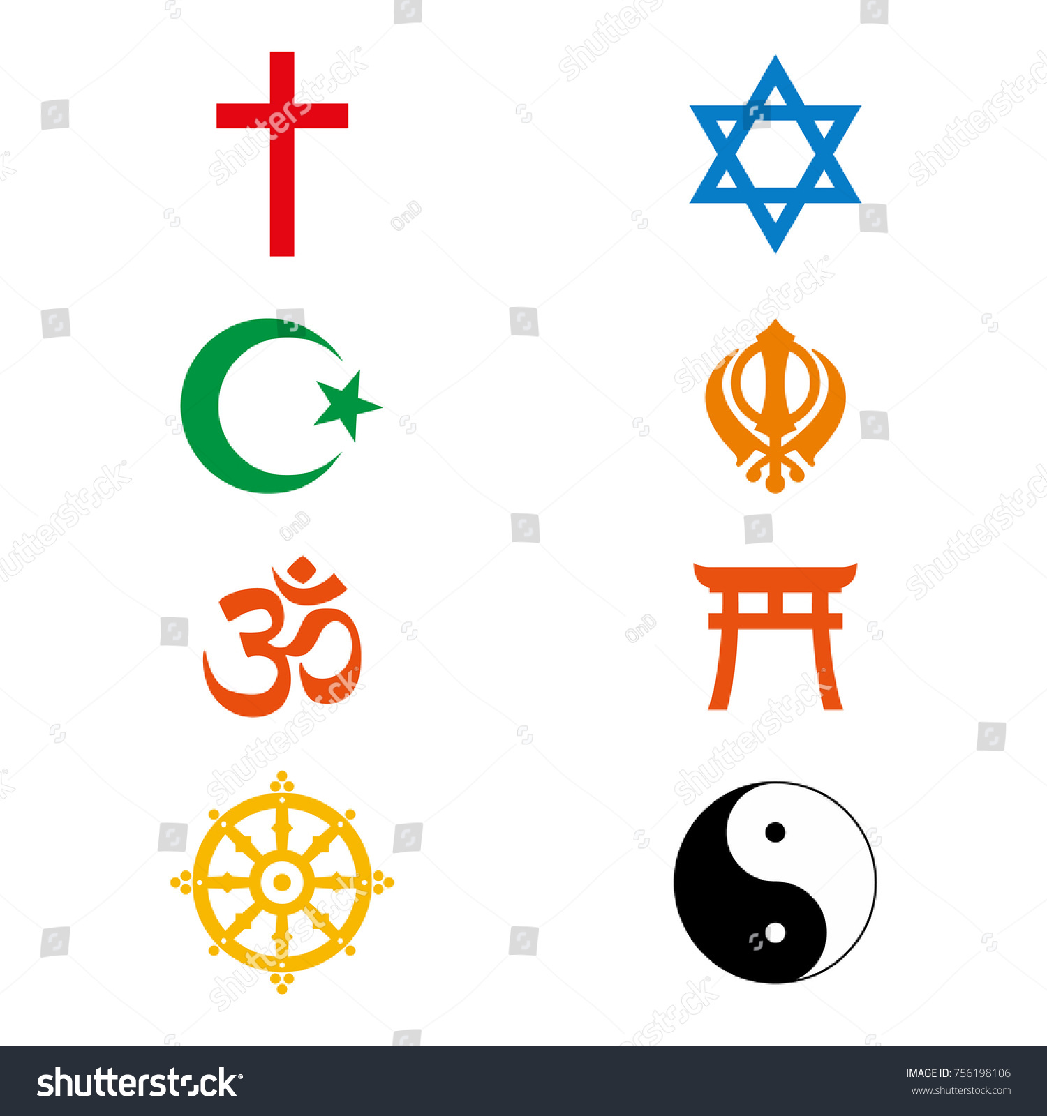 Raster illustration world religious signs symbols stock world religious signs and symbols collection in colour buycottarizona