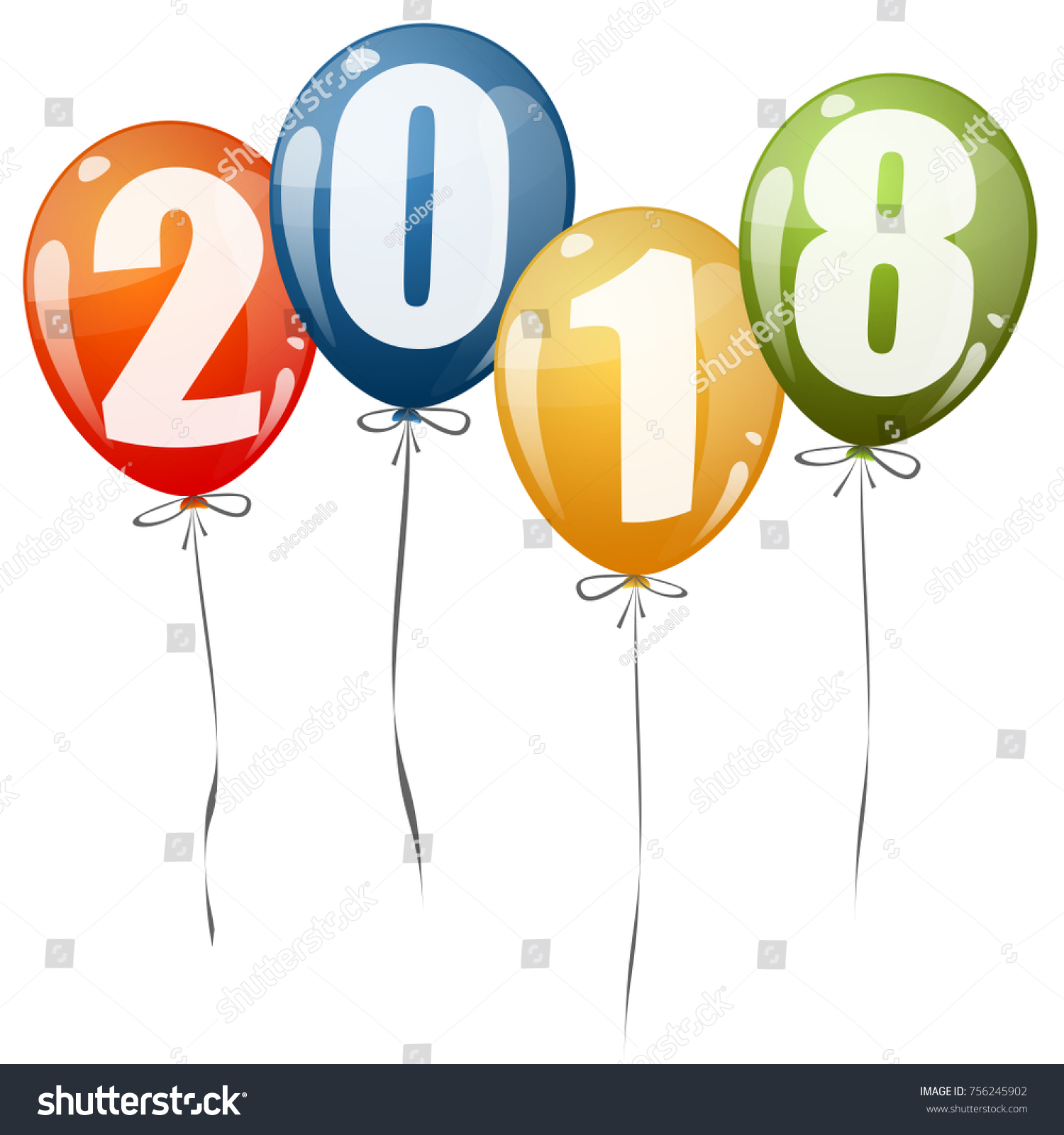 colored balloons with numbers for new year 2018