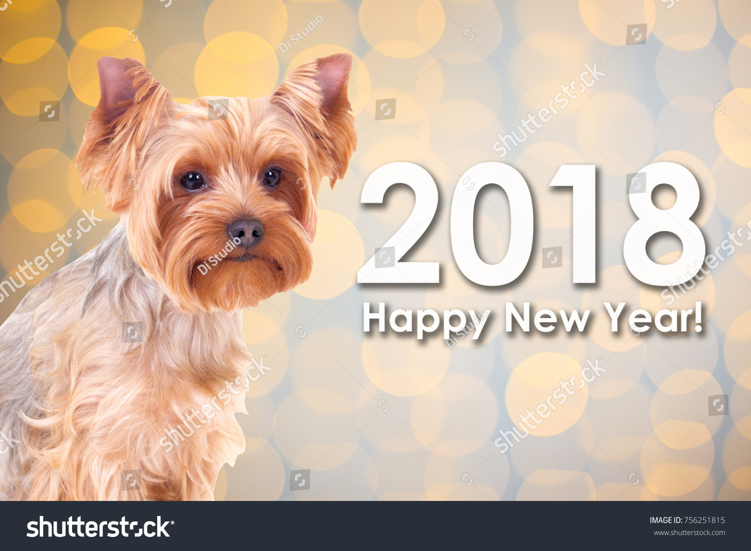 2018 New Year Concept Cute Dog Stock Photo Edit Now 756251815