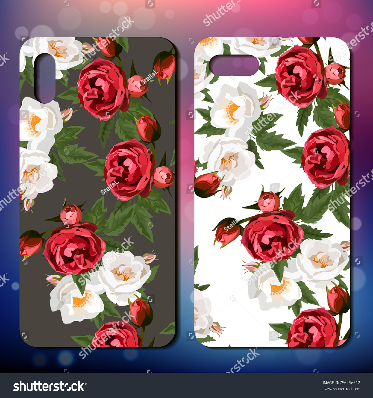 Phone Cover Background Roses Floral Collection Stock Vector