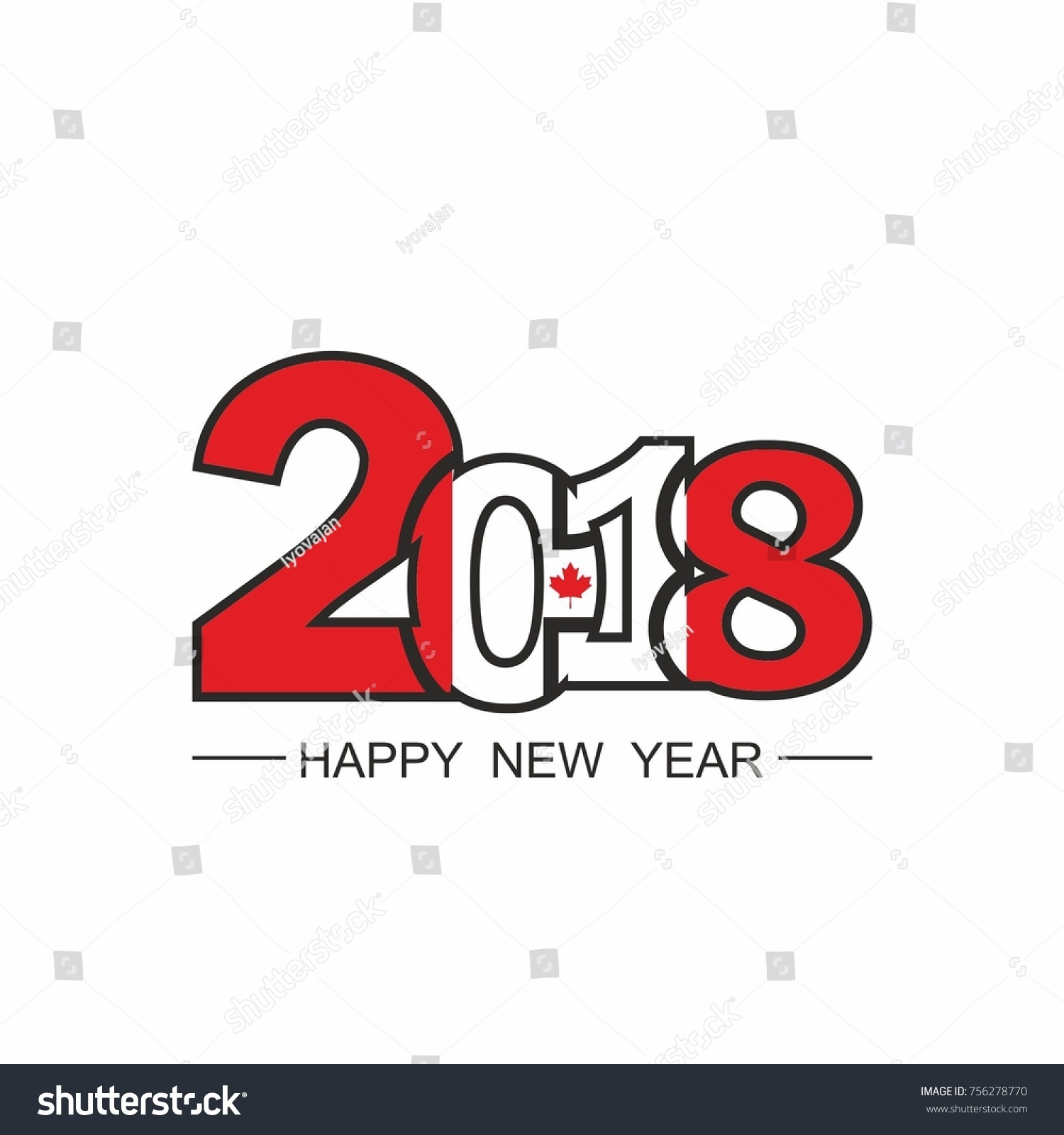 happy new year 2018 text design vector on white background flag of canada
