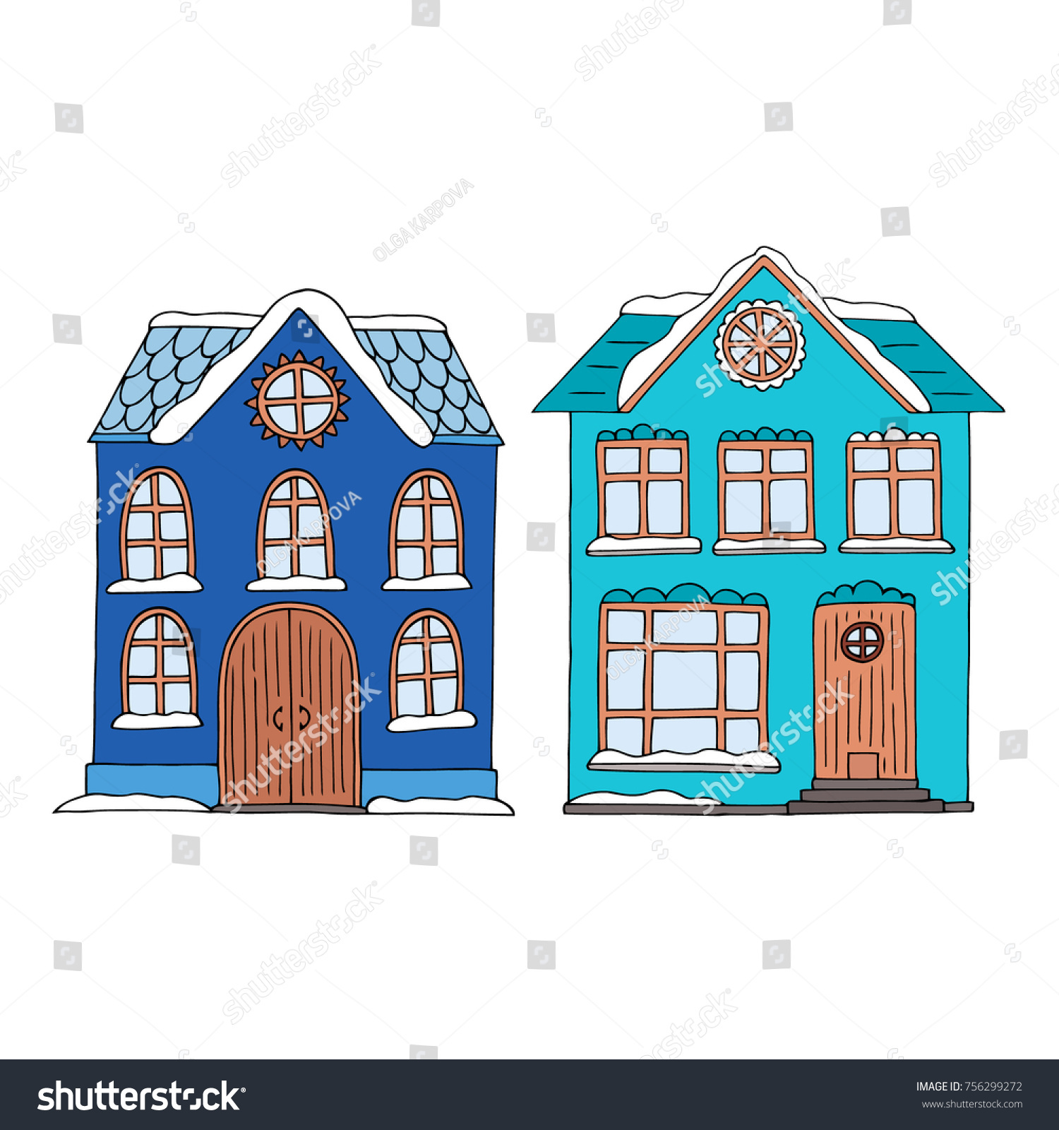 Cute small colorful houses with snow covered roof and doorstep old fashioned style two  sc 1 st  Shutterstock & Cute Small Colorful Houses Snow Covered Stock Vector (2018 ...