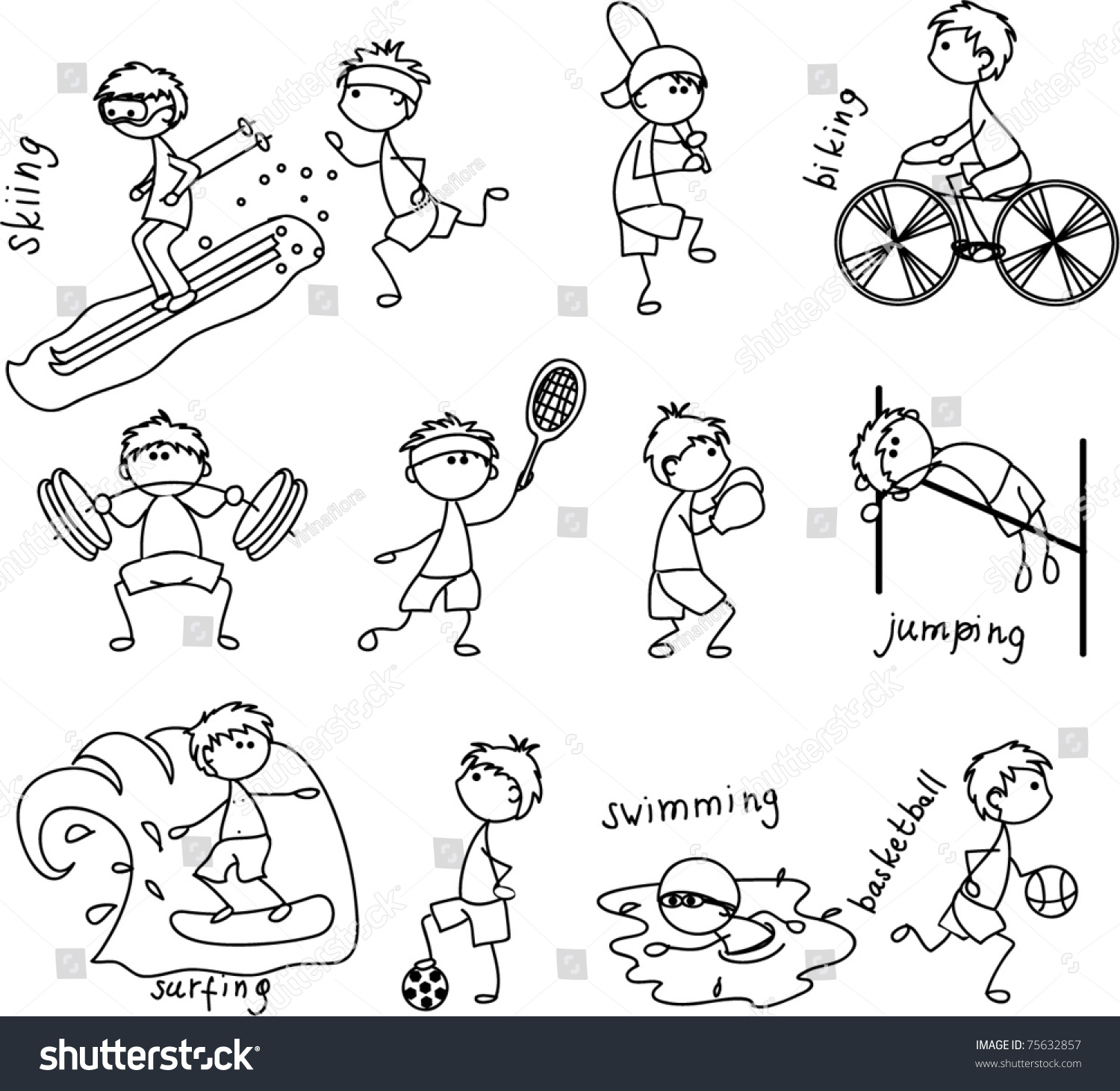 cartoon sport icon black white coloring stock vector 75632857 shutterstock. Black Bedroom Furniture Sets. Home Design Ideas