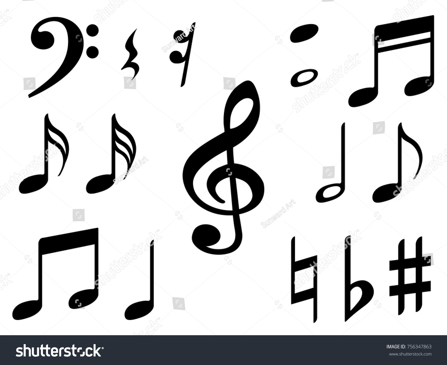 Music note icons vector set black stock vector 756347863 music note icons vector set black symphony or melody signs isolated on white background biocorpaavc
