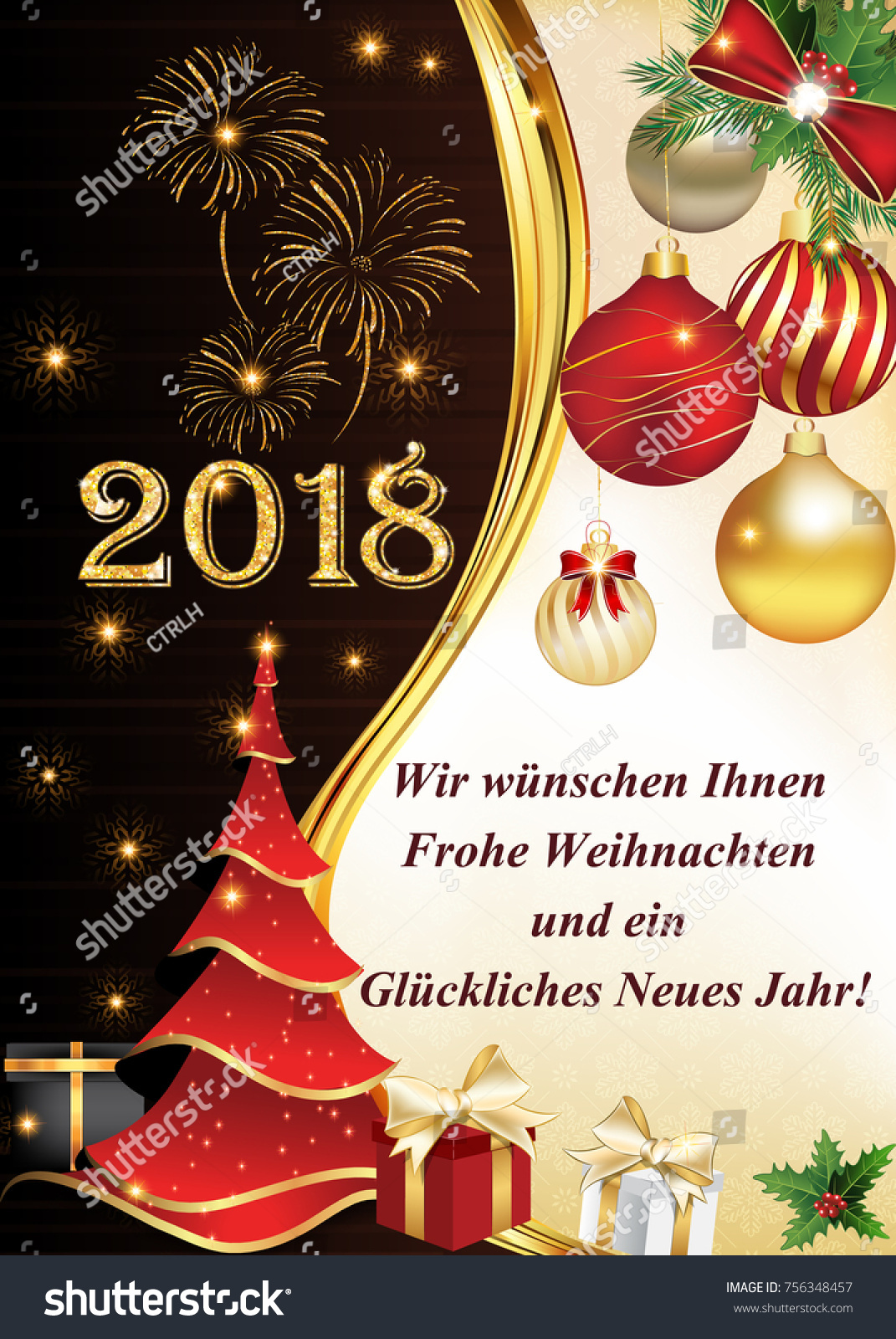 2018 Merry Christmas Happy New Year Stock Illustration 756348457