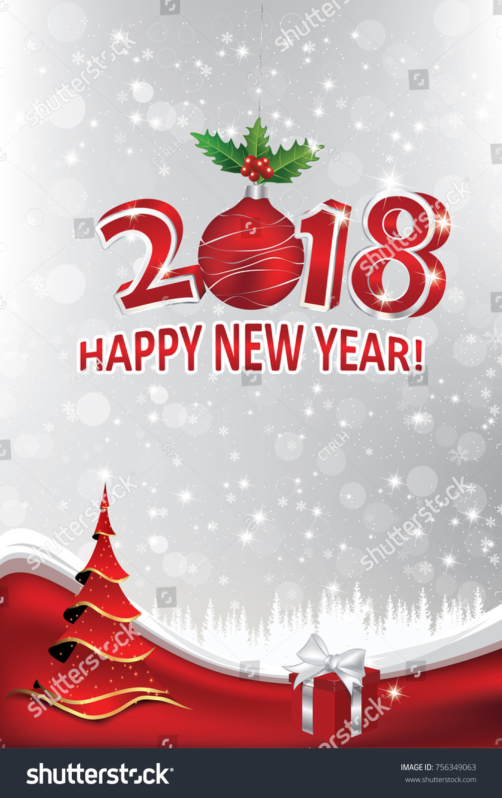 Happy New Year 2018 Greeting Card Stock Illustration 756349063 ...