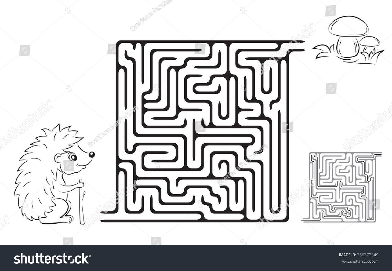 Maze Game Coloring Page Kids Pictures Stock Vector 756372349 ...