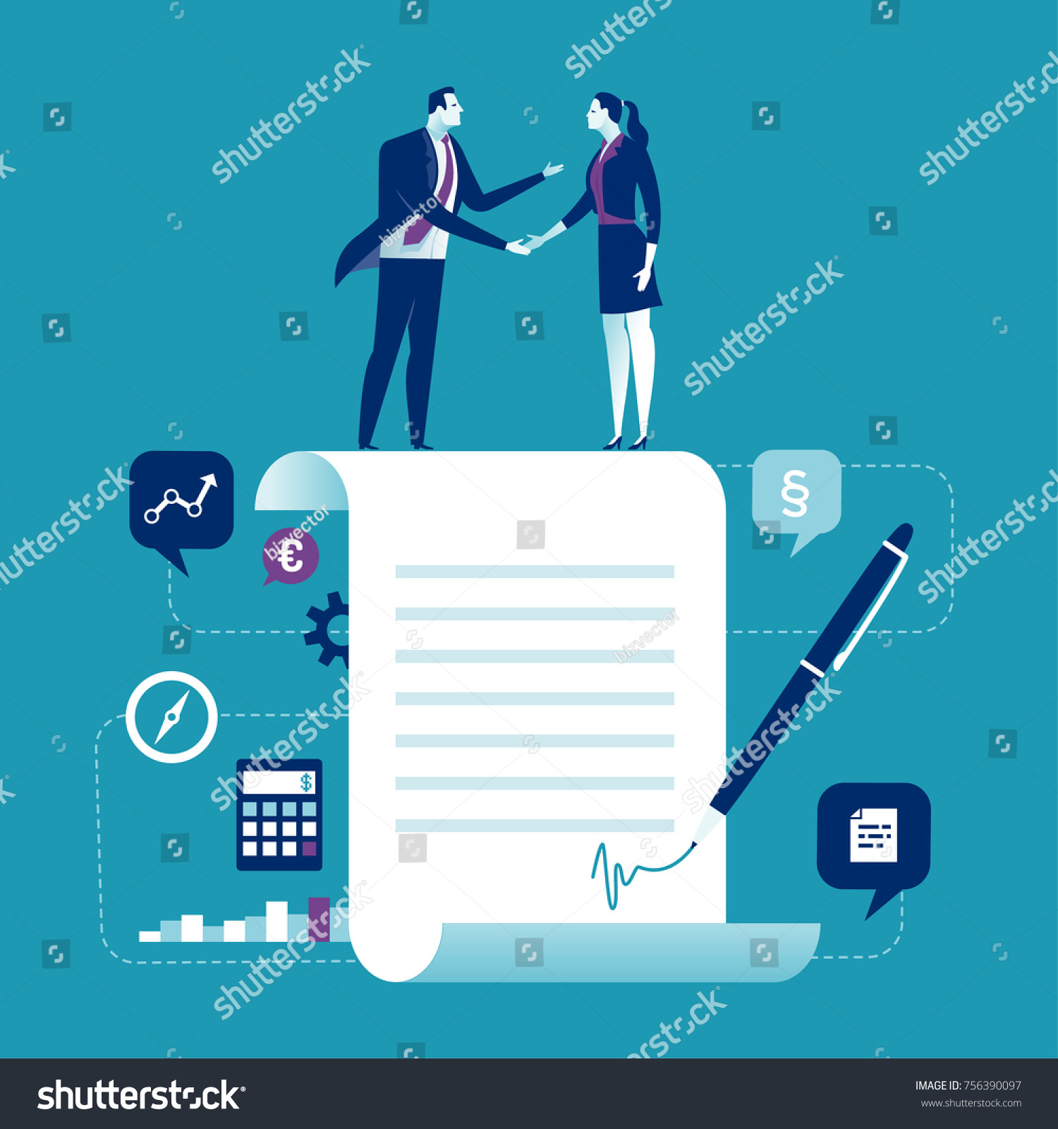 Agreement Business People Standing On Signed Stock Vector 756390097