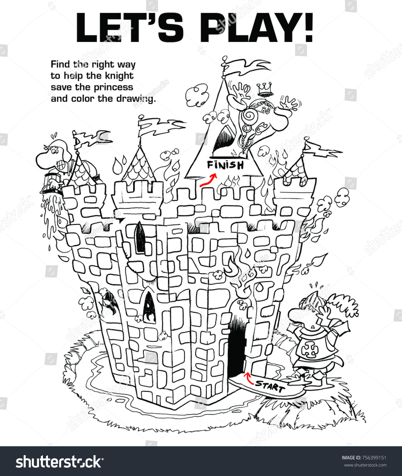 Medieval Funny Maze Knight Princess Cartoon Stock Illustration ...