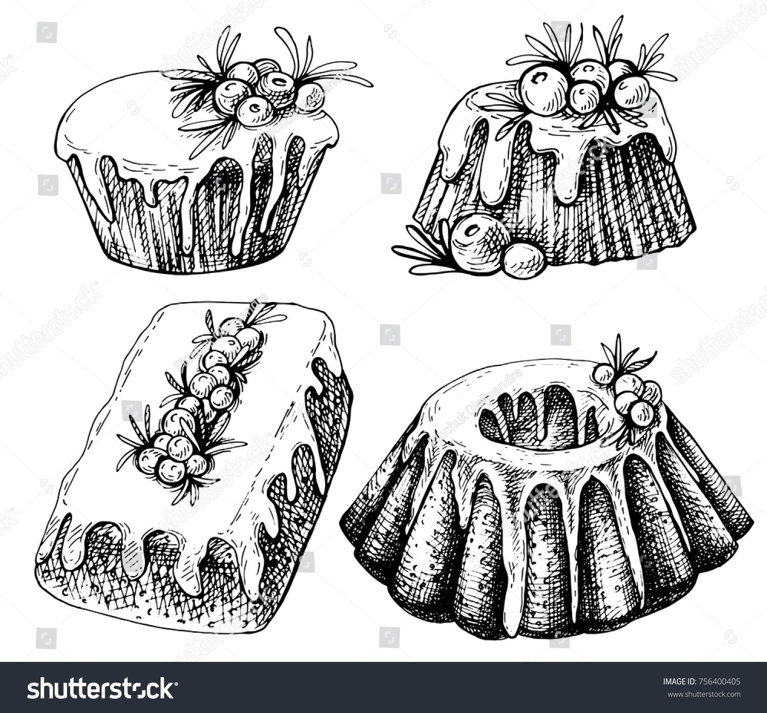 Hand Drawn Sketch Of Traditional X Mas Food Cake Christmas Illustration With
