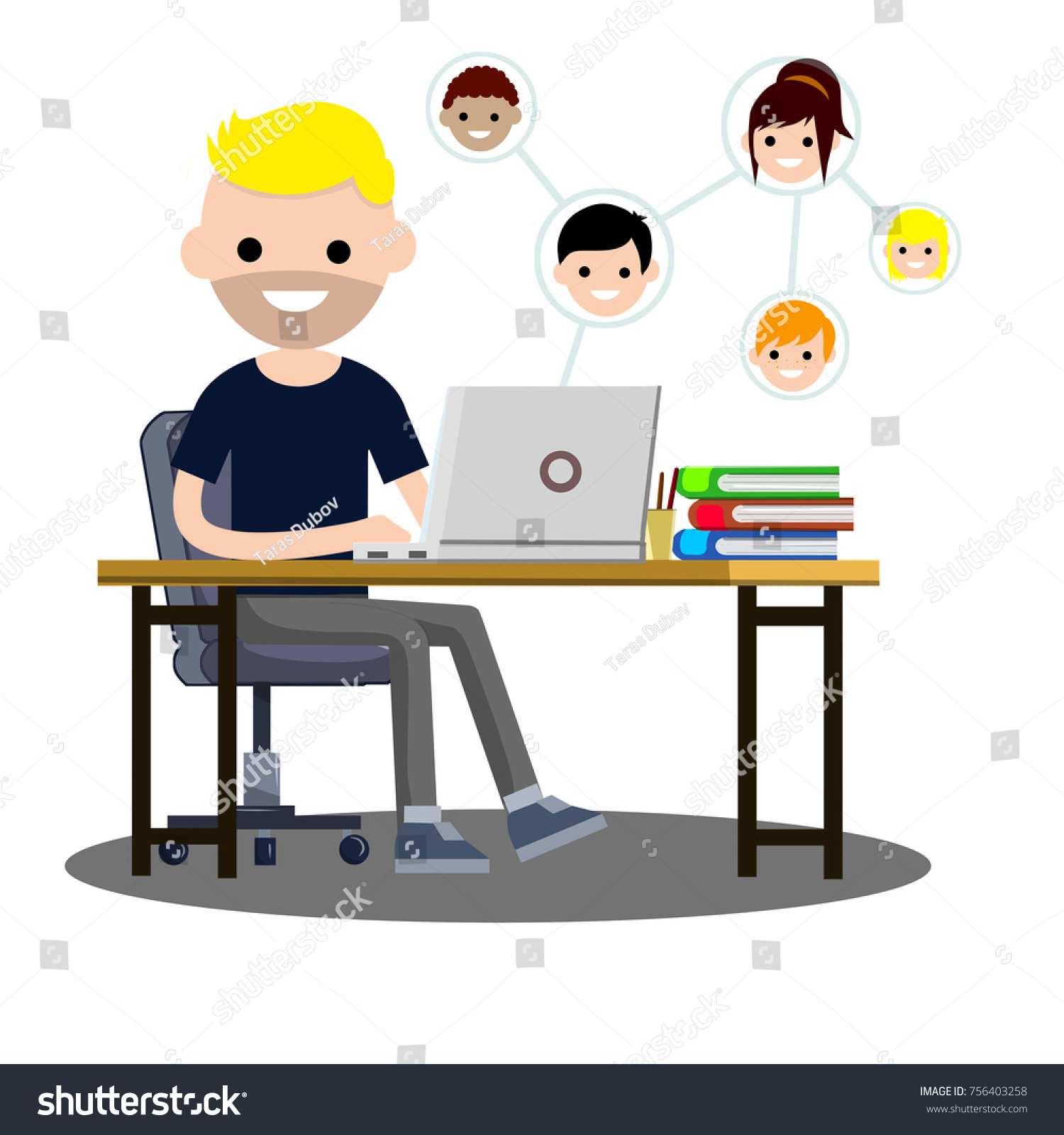 Guy Student Dark Clothes Sitting Stock Vector