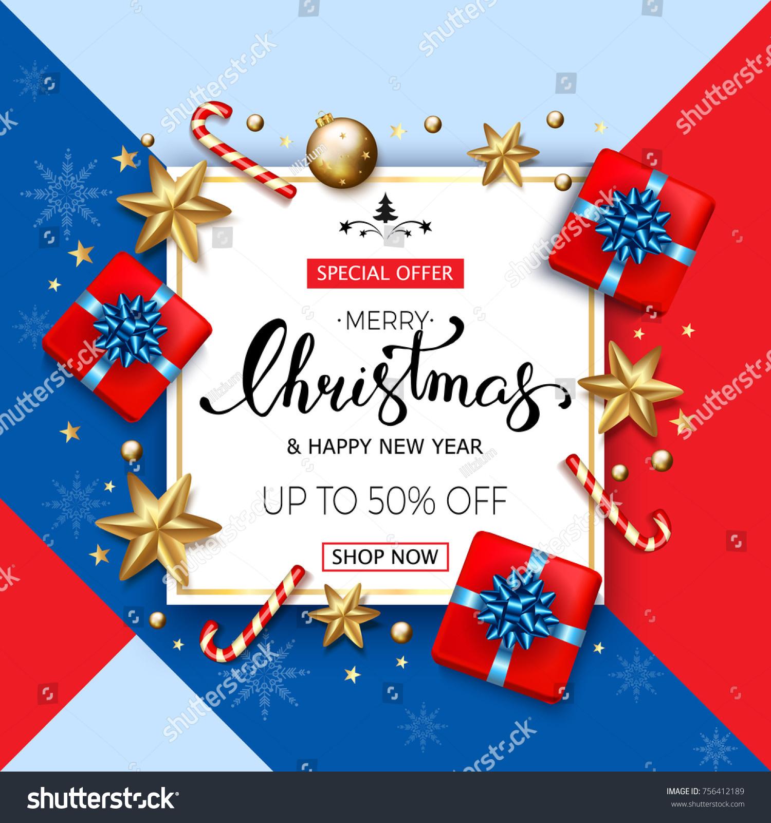 Merry Christmas Sale Banner Golden Stars Stock Vector (Royalty Free ...