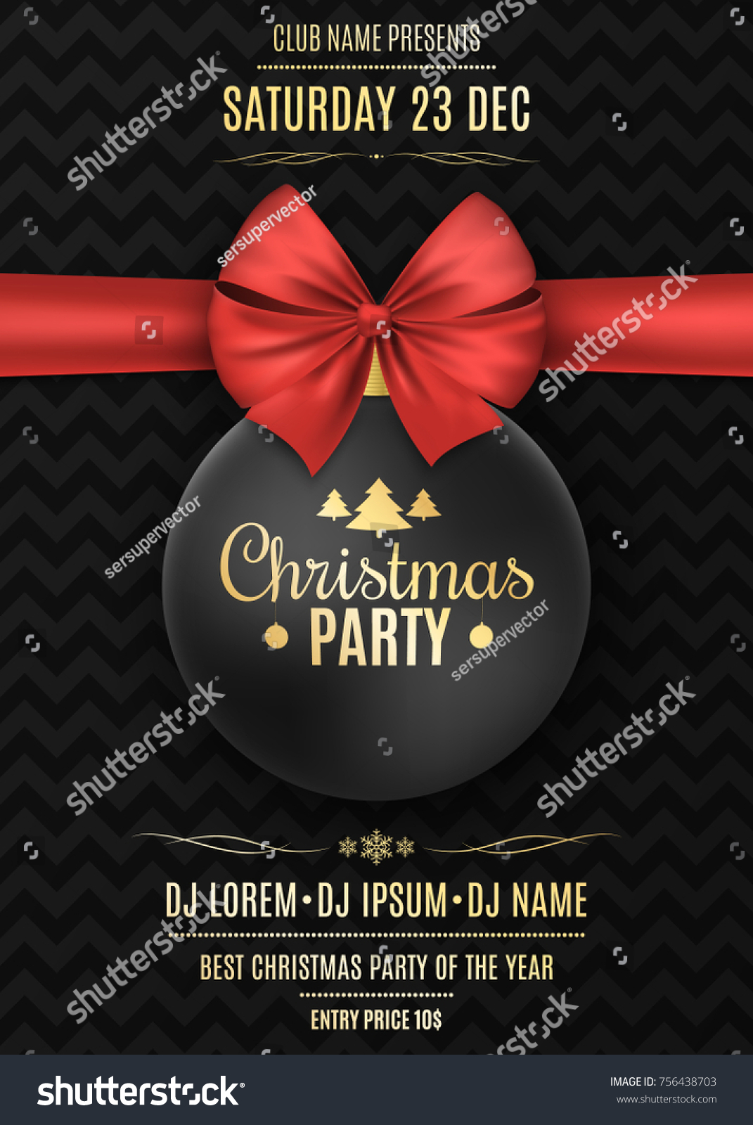 Invitation Christmas Party Black Ball Red Stock Vector (Royalty Free ...