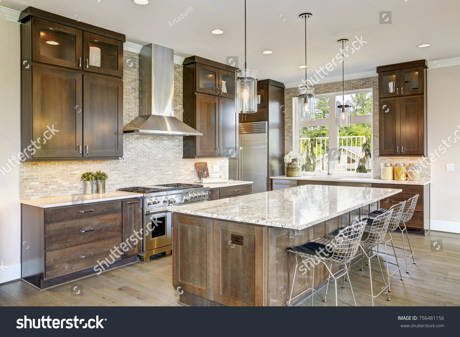 - Luxury Kitchen Accented Large Granite Kitchen Stock Photo (Edit