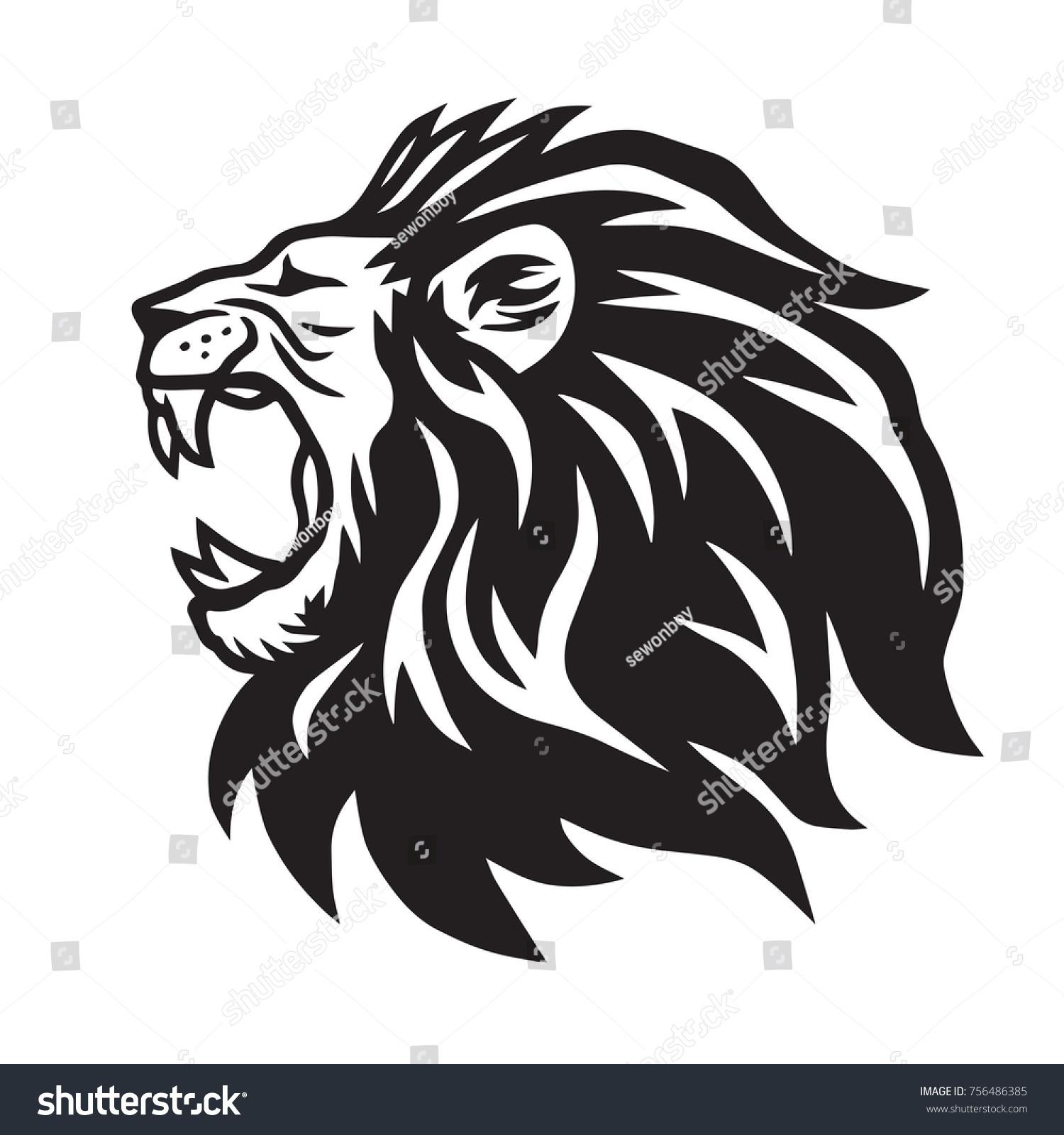 lion roaring vector icon logo template のベクター画像素材