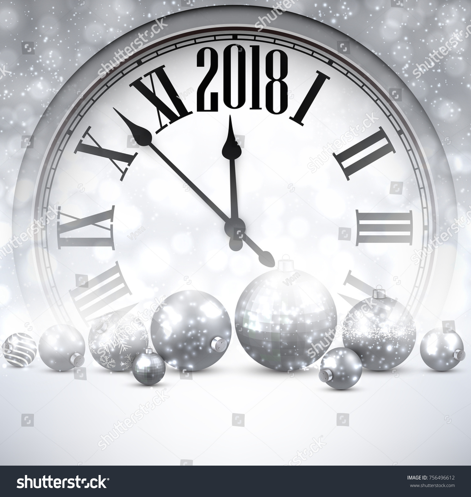 silver 2018 new year background with clock and balls vector illustration