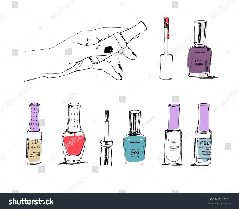 Manicure Nail Polish Nail Lacquer Polish Stock Vector 756500731 ...