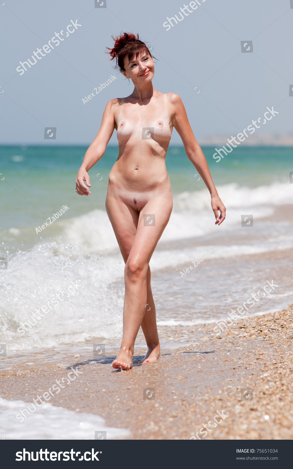Middle aged nude women on beaches