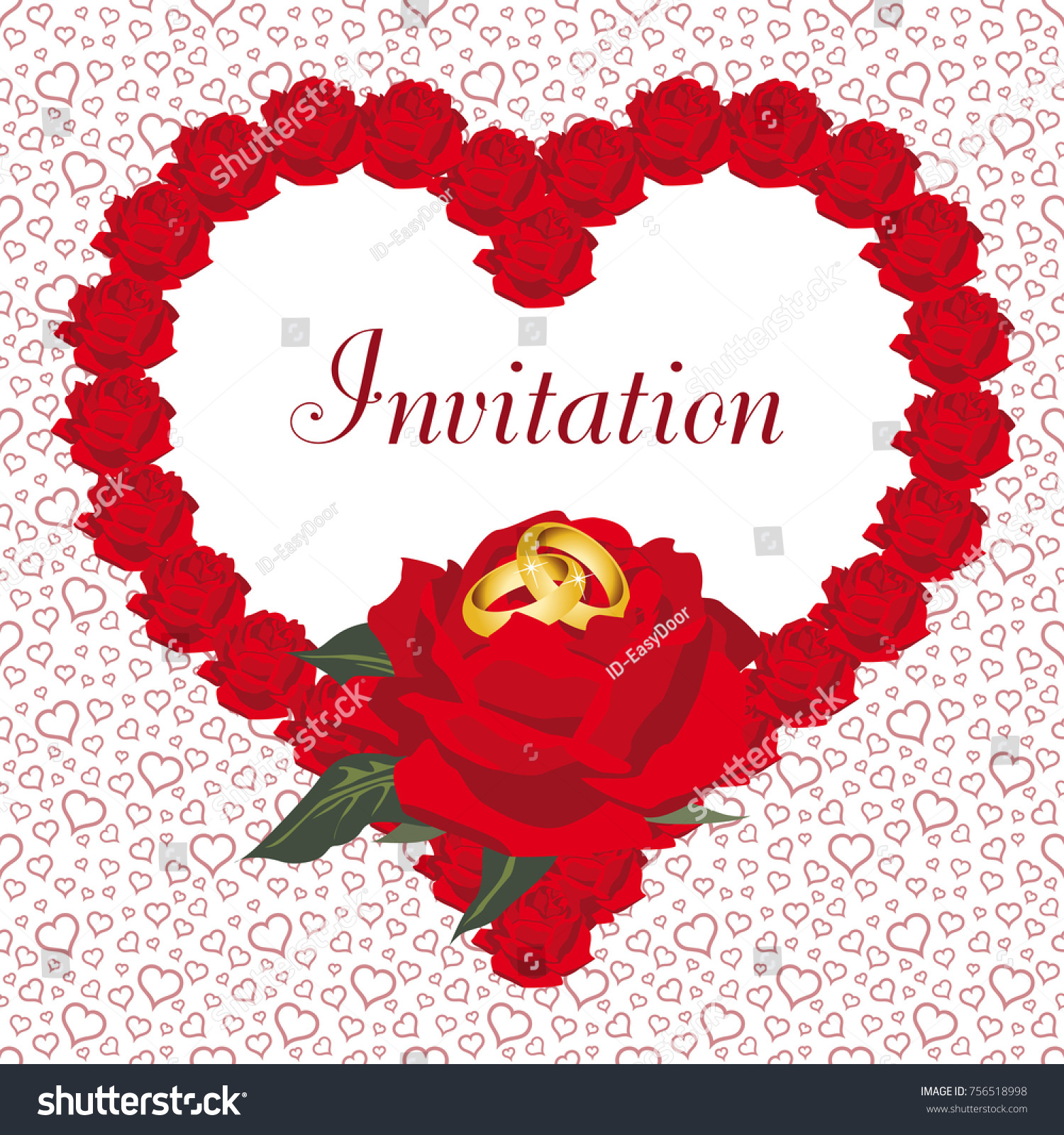 Invitation Card Traditional Wedding On White Stock Vector (Royalty ...