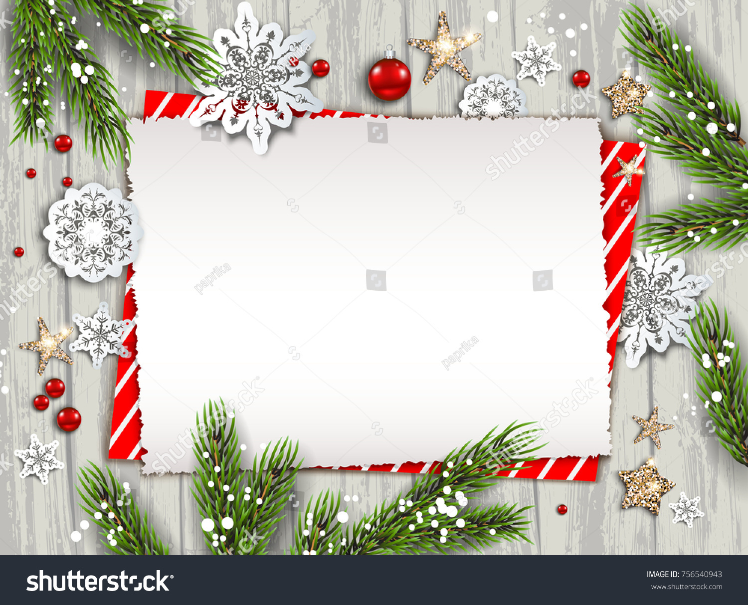 holiday christmas card with fir tree and festive decorations balls stars snowflakes on wood - Holiday Christmas Cards