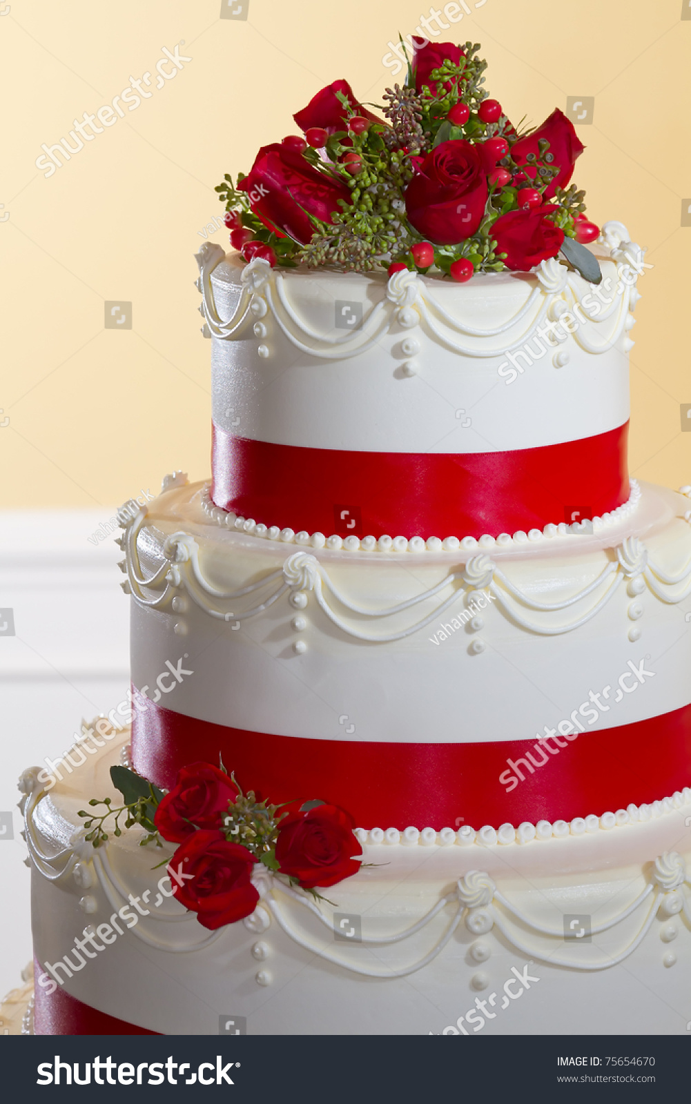 Top Tiers Butter Cream Wedding Cake Stock Photo Edit Now 75654670
